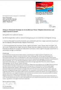 Antrag Kreistagsfraktion WAF Religiös motivierte Gewalt1