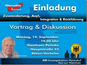 """Einladung zum Vortrag """"Zuwanderung, Asyl, Integration, Rückführung"""""""