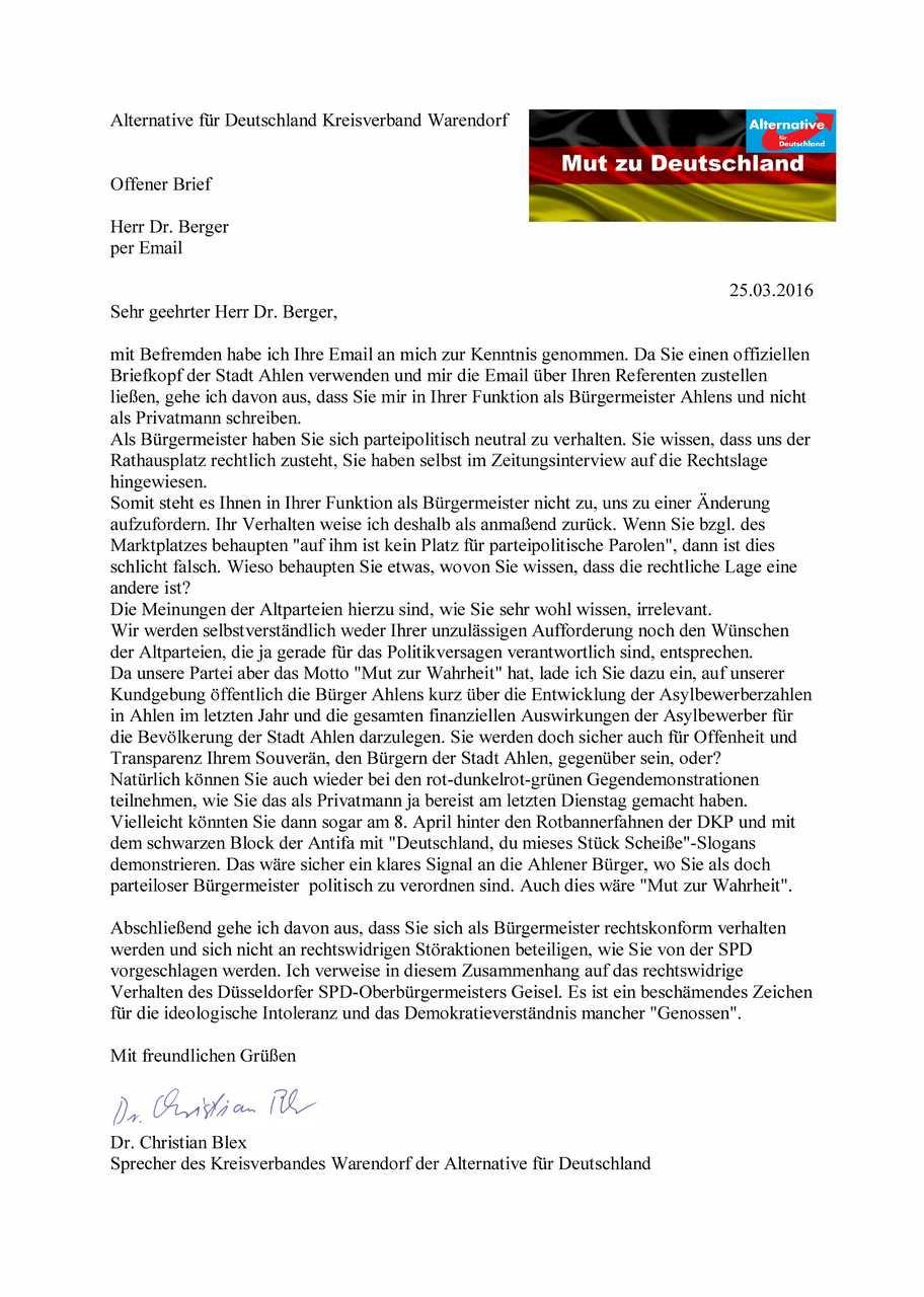 Offizielle Briefe Briefkopf : Alternative für deutschland kreisverband warendorf
